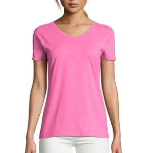 Hanes X-Temp Tagless Women's V-Neck Pink T-Shirt